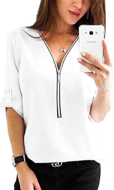 Camisa de Blusa para Mujer Media Manga Tops Camisa Elegante Camiseta con Cremallera Cuello en V con Cremallera: Amazon.es: Ropa y accesorios
