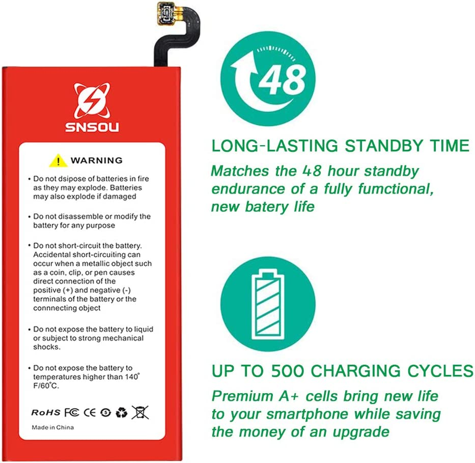 Galaxy S7 Battery, [Upgraded] SNSOU 3200mAh EB-BG930ABE Li-Polymer Replacement Battery for Samsung Galaxy S7 SM-G930 G930V G930T G930A G930P with Repair Replacement Kit Tools: Home Audio & Theater