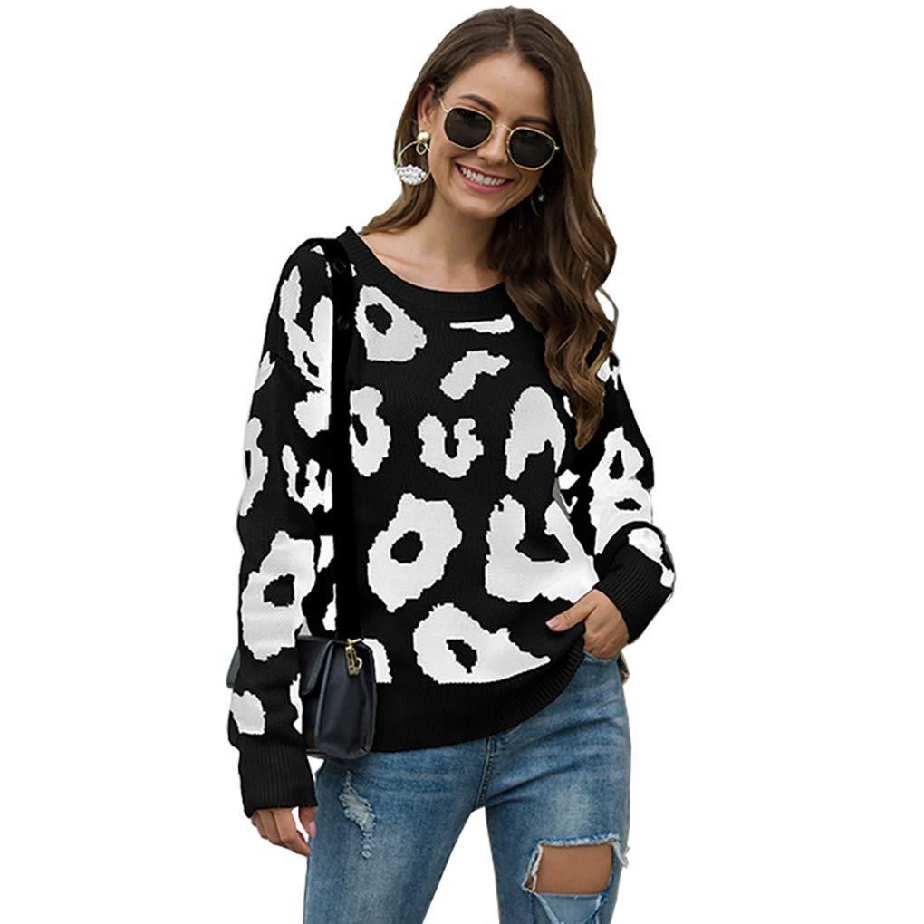 Women's Leopard Print Knitted Tunic Loose Sweatshirt Tops Long Sleeve Black by Mrsrui