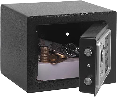 Security Safe Box, Digital Safe Box with Key, Small Safe Box for Money Documents Home Dorm Office, Wall Mount Strongbox Steel Safe Box with Key, 0.17 Cubic Feet Mini Safe Lock Box Black