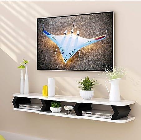 TriGold Pared TV Mueble,Flotante Estante Consola para TV Decoración Moderna del Hogar Consola para TV para Set-Caja De Cable Superior Almacenamiento A 110x22x15cm(43x9x6inch): Amazon.es: Hogar