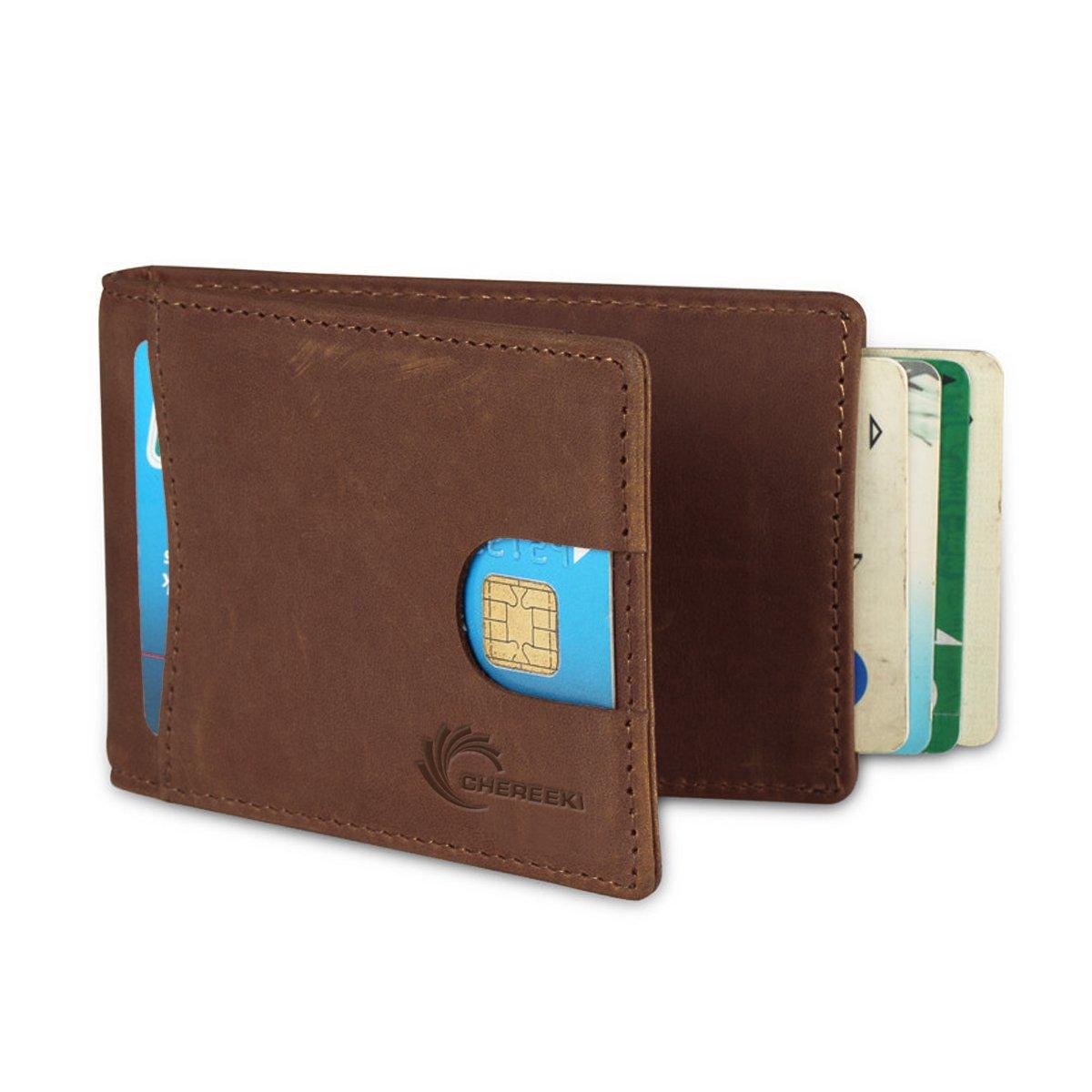 9400eb1ed CHEREEKI RFID Bloqueo Billeteras Slim Bifold Cuero Cartera Minimalista  Frente Bolsillo para Hombres con Titular de Tarjeta de Crédito y Money  Clip: ...