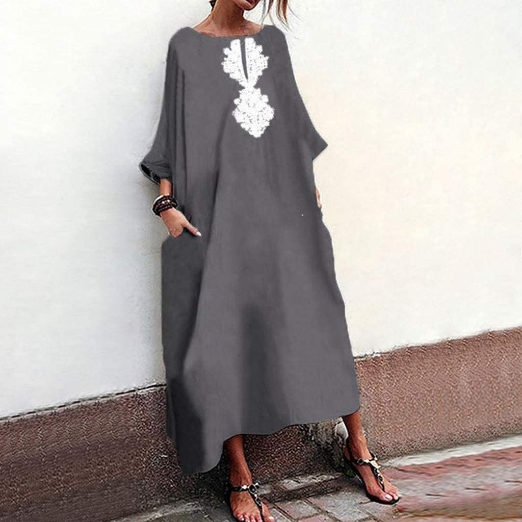 Gray,S Summer Dresses For Women Clearances Large Size Retro Printed Cotton And Linen Loose Large Dress For Anniversary,Party,Valentines Day