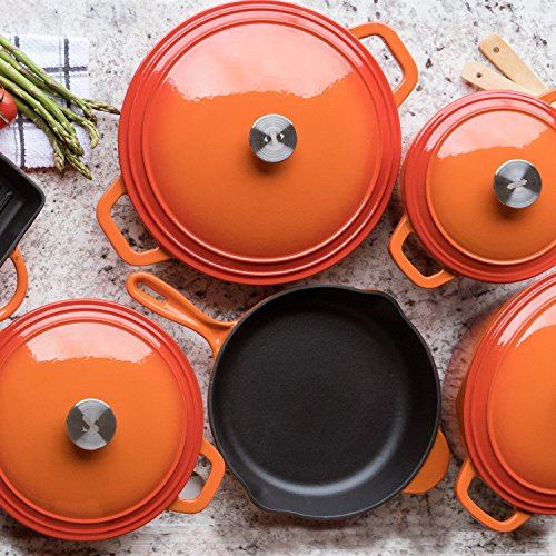 Zelancio 2 Quart Cast Iron Sauce Pan Covered Cast Iron Sauce Pot with Lid. Perfect as a Bean Pot, Spaghetti Sauce Pot, Barbecue Sauce Pot, or Pasta Sauce Pot (Tangerine Orange)