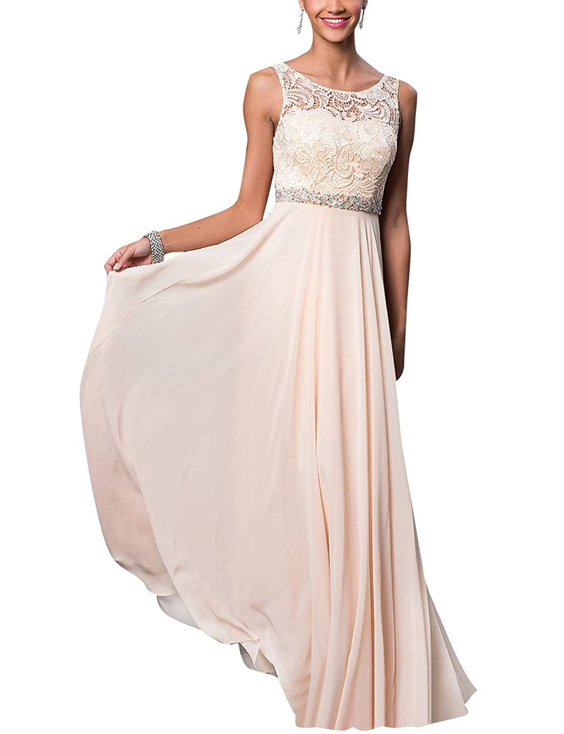 HUINI Sheer Lace Cowl Neck Long Chiffon Prom Dresses Beaded Evening Formal Gowns