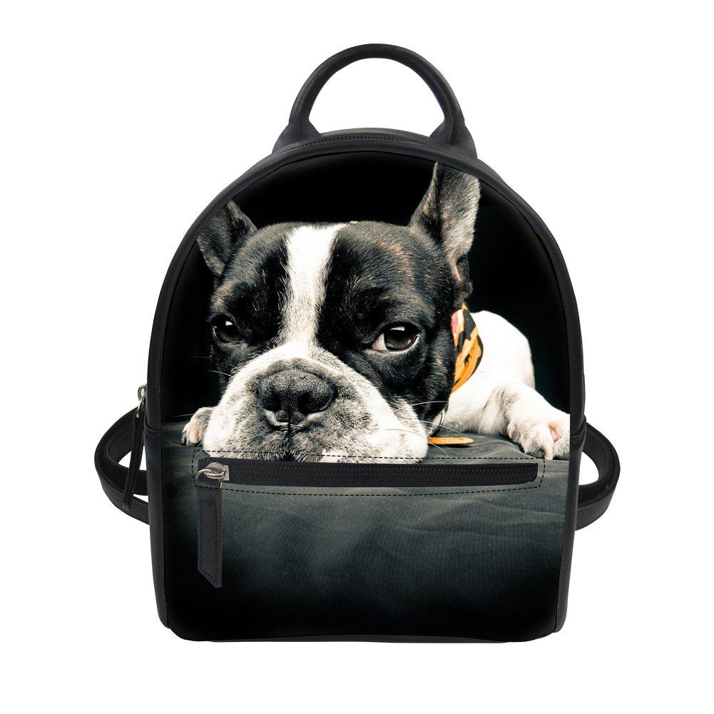 a750b2d110b Amazon.com   HUGS IDEA Women Girl Mini Backpack Bulldog Print PU Leather  Waterproof Ipad Daypack Casual Shoulder Bag   Casual Daypacks
