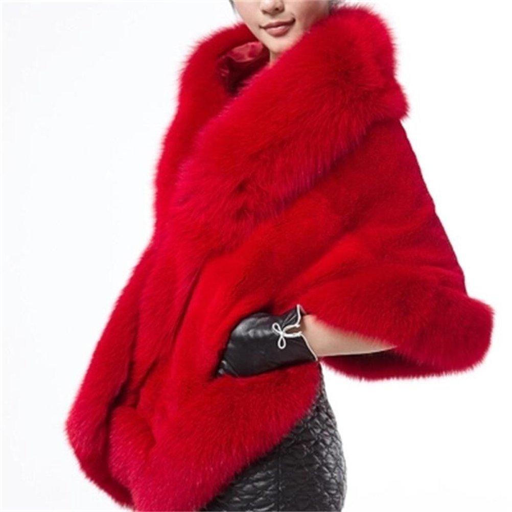 Dannifore Women's Faux Fur Coat Wedding Bridal Cloak Cape Shawl for Evening Party ACC05-black