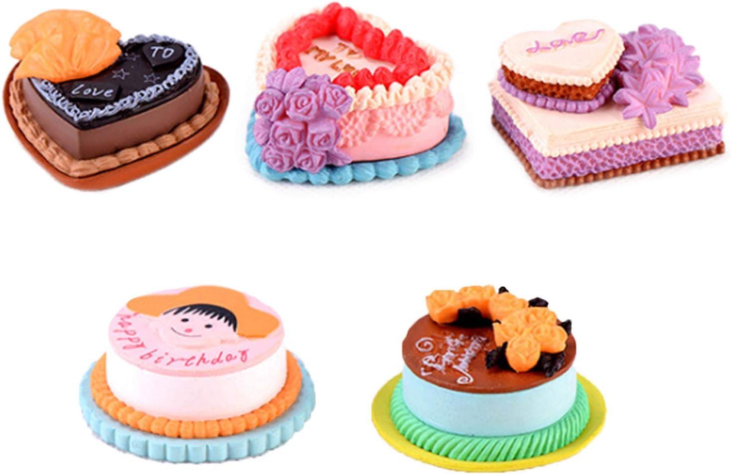 ERANCE 5 Pcs Cake Dollhouse Miniature Food, Miniature Cake Food Dessert Models Dollhouse Decor, Miniature Pretend Play Mini Kitchen Food Cake Toppers