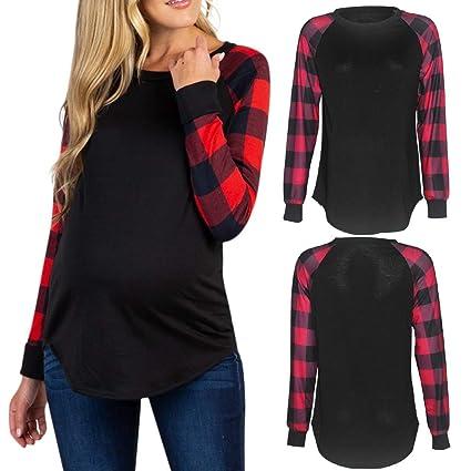 fca206bfa50 Nacome Women s Raglan Sleeve Splicing Plaid Long Sleeve Maternity T Shirt  Top Pregnancy Soft Shirt (