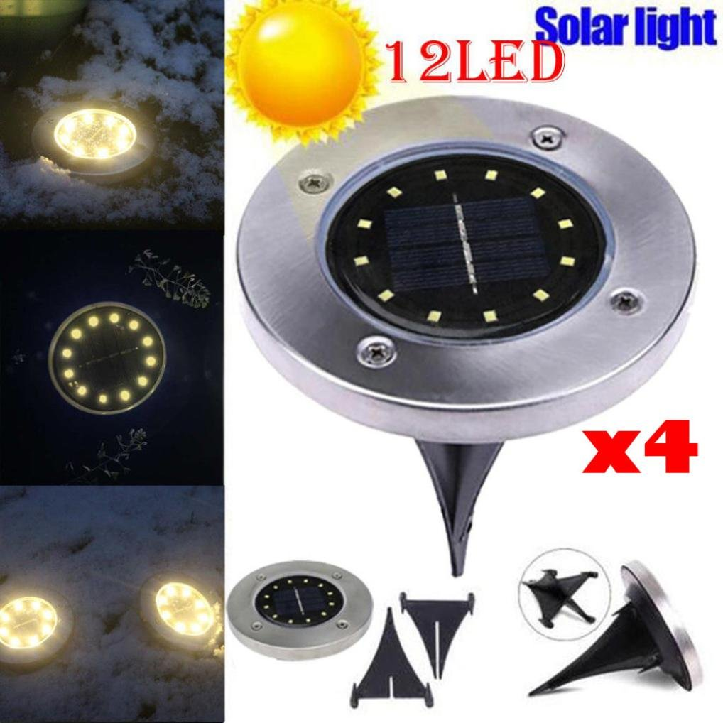 EnjoCho Solar Powered Light, 4PCS 12LED Stainless Steel Solar Power Buried Light Under Ground Lamp With Copper Lamp For Outdoor Path Garden Decking (Silver-1)