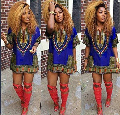 Azul recta los de vestidos ocasional impresión rodilla africana mini Mujeres vestido la la Culater por de de encima YfqwT