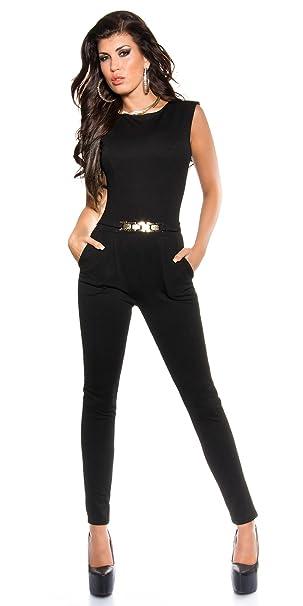 Piccole follie Pantaloni tuta intera donna elegante con fibbia dorata  aderente Sexy (S 6794fc82ff4