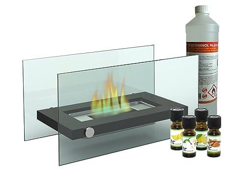 Chimenea de mesa decorativa/cristal Chimenea Bioetanol + 1L ...