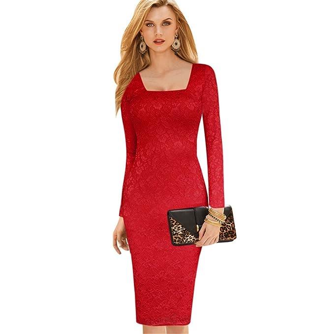 COCO clothing Rojo Lápiz Vestido para Mujer de Noche Encaje Flores Cuello Cuadrado Larga Mangas Bodycon