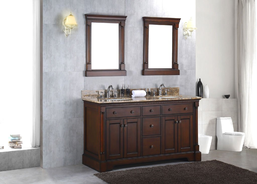 Solid wood 60 double bathroom vanity sink cabinet w granite stone top hot sale for Solid wood double sink bathroom vanity