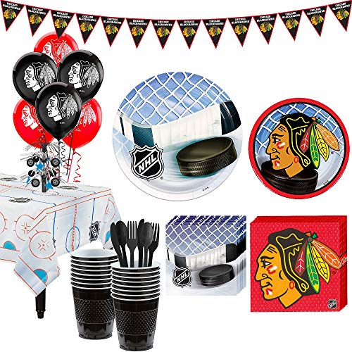 Party City Super Chicago Blackhawks Party Kit for 16 Guests, Includes Table Cover, Decorations and Tableware -