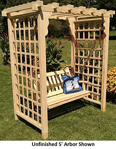 - Backyard Crafts Amish-Made Lexington Style Pine Arbor with Swing - 5' Wide Walkthrough, Unfinished