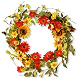 National Tree 20 Inch Floral Branch Wreath with Yellow Sunflowers and Mixed Flowers (RAS-S0377C)