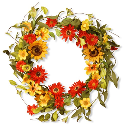 Floral Branch Wreath with Sunflowers