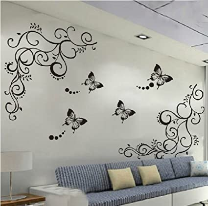Amaonm hot fashion removable vinyl diy black nursery flowers vine and beautiful butterfly wall corner decals