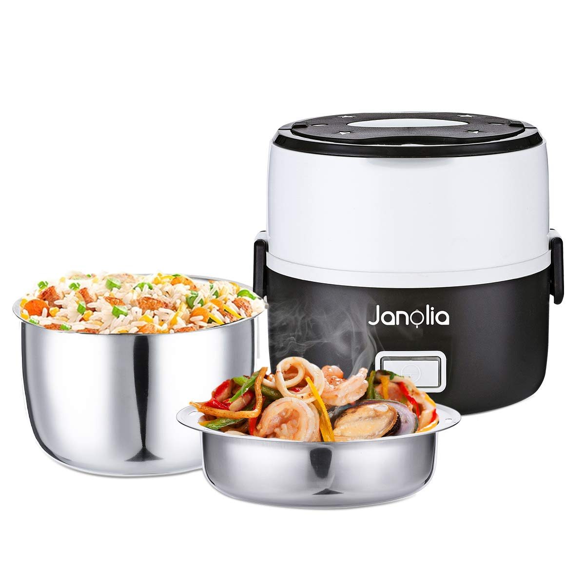 Janolia Electric Food Steamer, Portable Lunch Box Steamer with Stainless Steel Bowls, Measuring Cup by Janolia