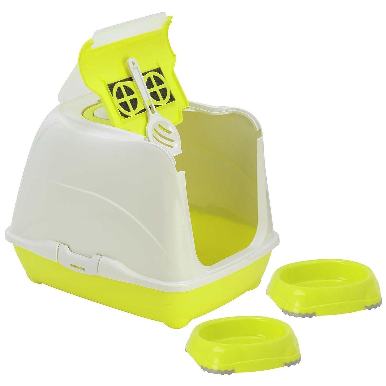 Bandeja sanitaria para gatos + 2cuencos de 0,3L + Cuenca con filtro para inodoro y cuchara Yarro