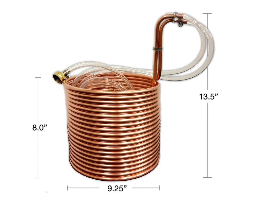 COLDBREAK 50′ Wort Chiller, 3/8″ Stainless Steel, 4′ Vinyl Tubing, Heavy-Duty Garden Hose Fitting