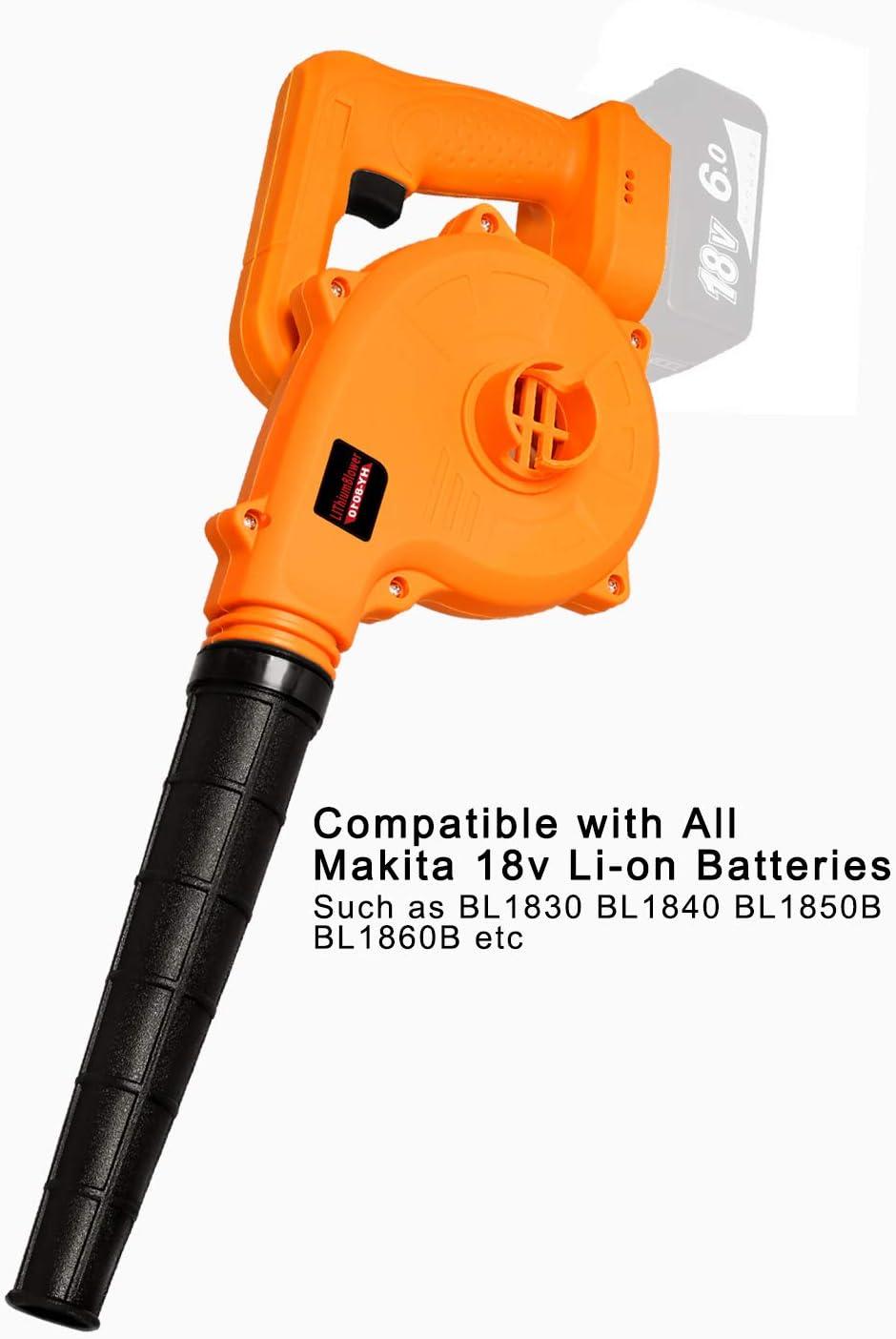 Bsioff Soplador de Hojas y aspiradora Barredora//aspiradora 2 en 1 de Litio de 18 V 18000 RPM Compatible con Makita 18 V BL1850B BL1860B Bater/ía de Iones de Litio