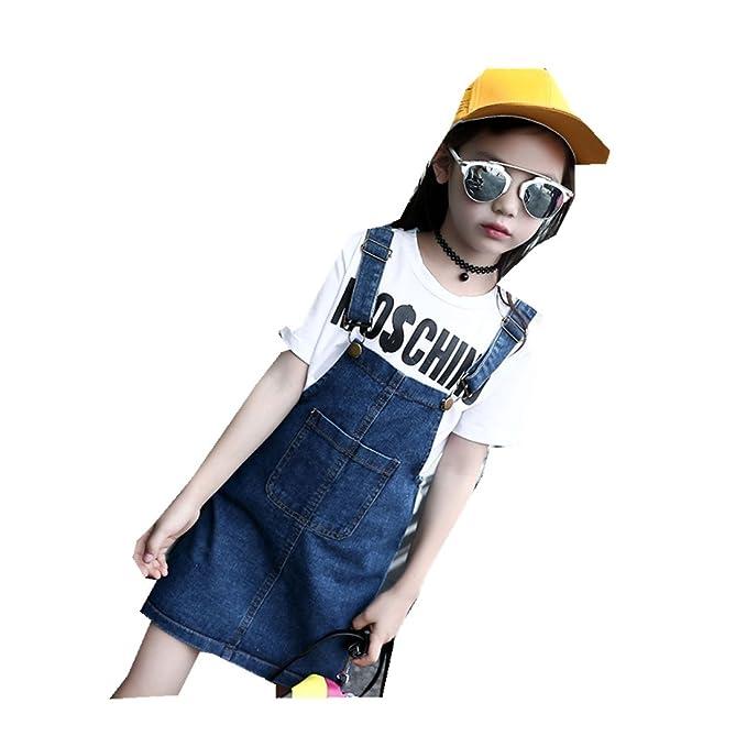 7d13fad3f29f8 MV Girls All-Match Strap Denim Dress Korean Children Denim Kids ...