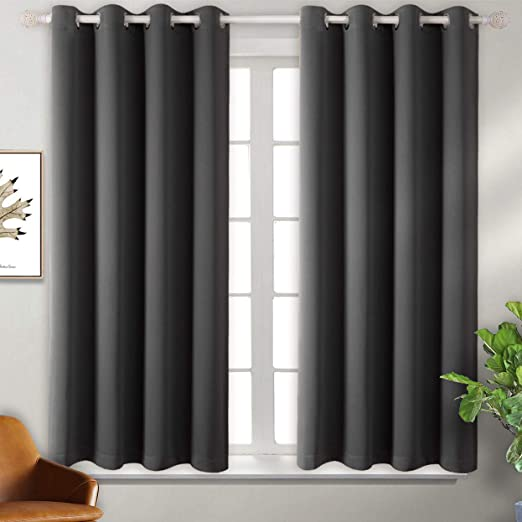Double Layer Full Room Darkening Noise Reducing Grommet Curtain 2 Window Curtain Panels of 52 x 45 Inch Grayish White BGment Thermal Insulated 100/% Blackout Curtains for Bedroom with Black Liner