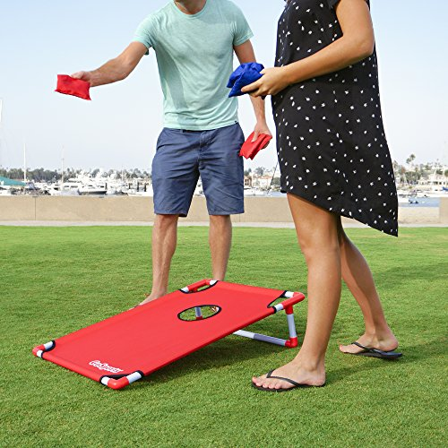GoSports Portable PVC Framed Cornhole Game Set with 8 Bean Bags and Travel Carrying Case