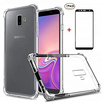 new styles 773d9 9a595 Samsung Galaxy J6 Plus Case Ttimao Flexible Clear TPU Silicone Air Cushion  Design Drop Protection Ultra Thin Anti Scratch Protective Cover+2*Tempered  ...