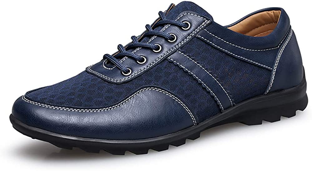 COOJOY Zapatos de Vestir para Hombre Casuales Lace-up Mocasines Plano Mesh Loafers Zapatillas de Conducción