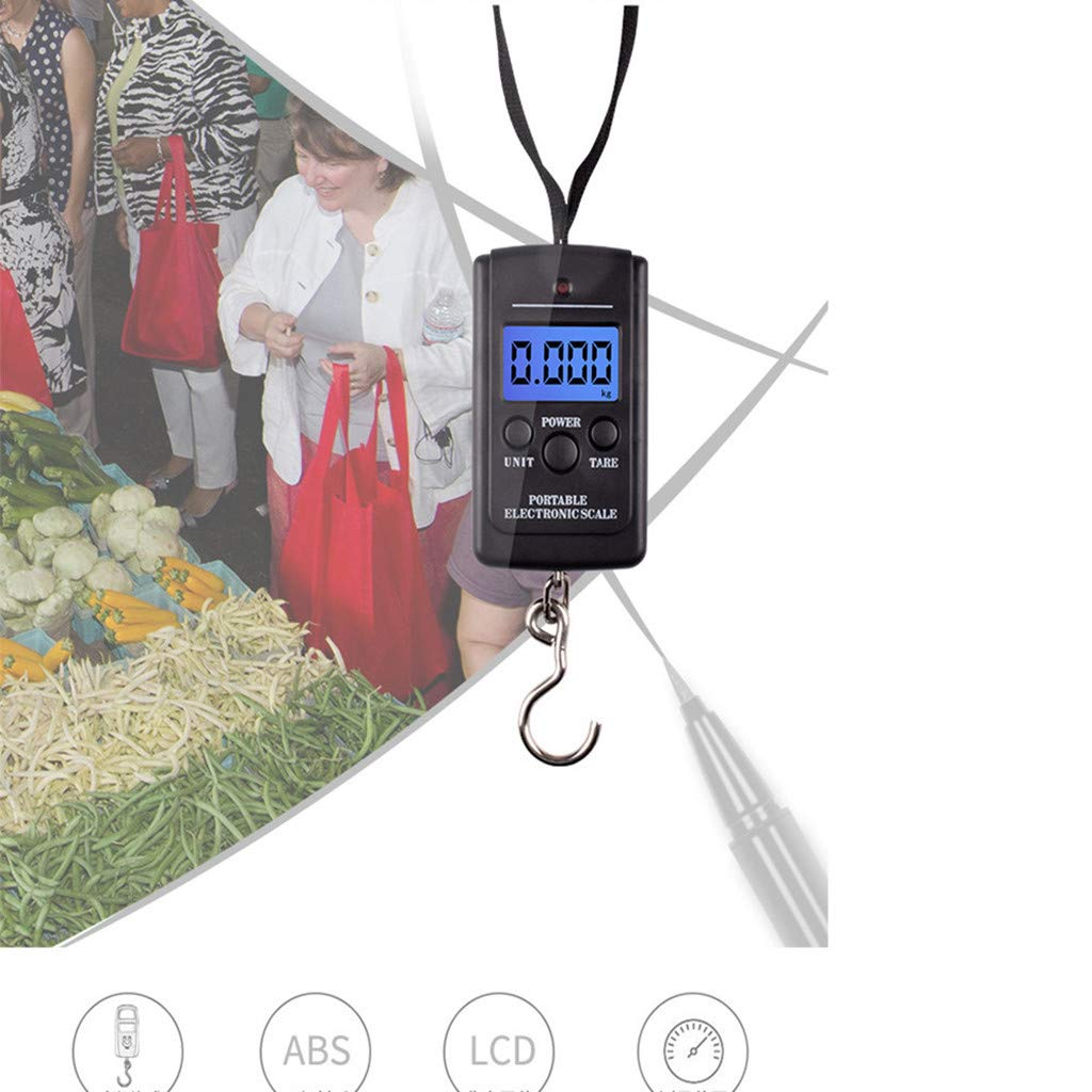 VonVonCo 40kg x 5g Digital Scale for Fishing Luggage Steelyard Hanging Electronic Scale (3.3'' x 2.0'' x0.8'' Depth, Black) by VonVonCo (Image #4)