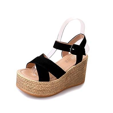 7f11b81777 Sandals for Women Platform Summer High Wedge Heels Sandals Suede Cork Peep  Toe Ankle Strap Walking Shoes Lightweight Green Black Brown 35-40:  Amazon.co.uk: ...