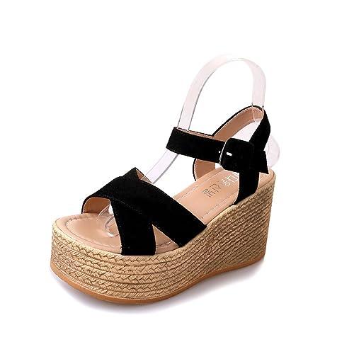 94dd2bc0 Sandalias Mujer Verano de Tacón Alto Plataforma Cuñas Zapatos con Hebilla  Correa de Tobillo Chancletas Negro Caqui Verde 35-40: Amazon.es: Zapatos y  ...