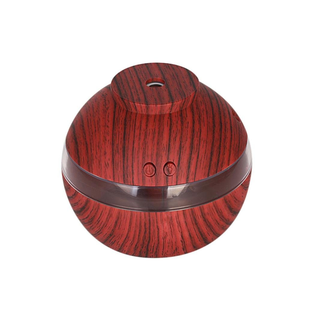 Fineser 300ml Air Aroma Essential Oil Diffuser , Ultrasonic Cool Mist Humidifier with Soft LED Light , for Office Home Bedroom Living Room Yoga Spa (Brown)