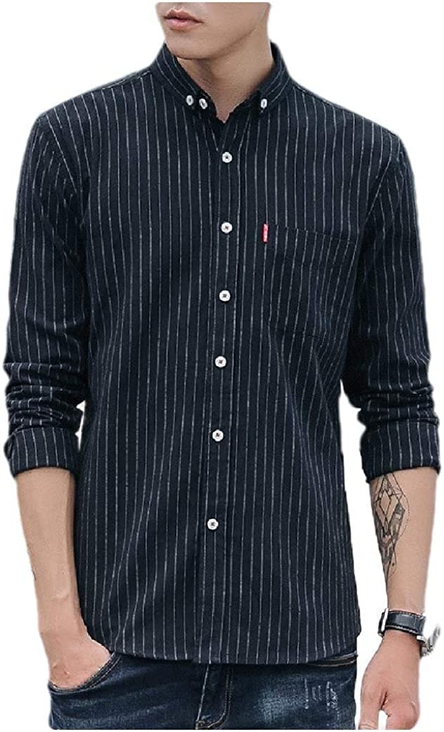 Winwinus Men Square Collor Japanese Long-Sleeve Stripes Printed Dress Shirts