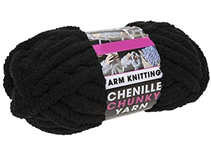 CHUNKY ARM KNITTING WOOL,250G & 12 5 METER, THICK SOFT YARN EXTREME  KNITTING (BLACK CHENILLE)