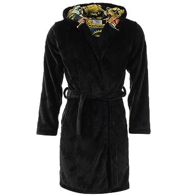 Mens Batman Robe Strip Hoodie Black Dressing Gown Superhero Nightwear Warm  Indoor (Black 982bb8caf