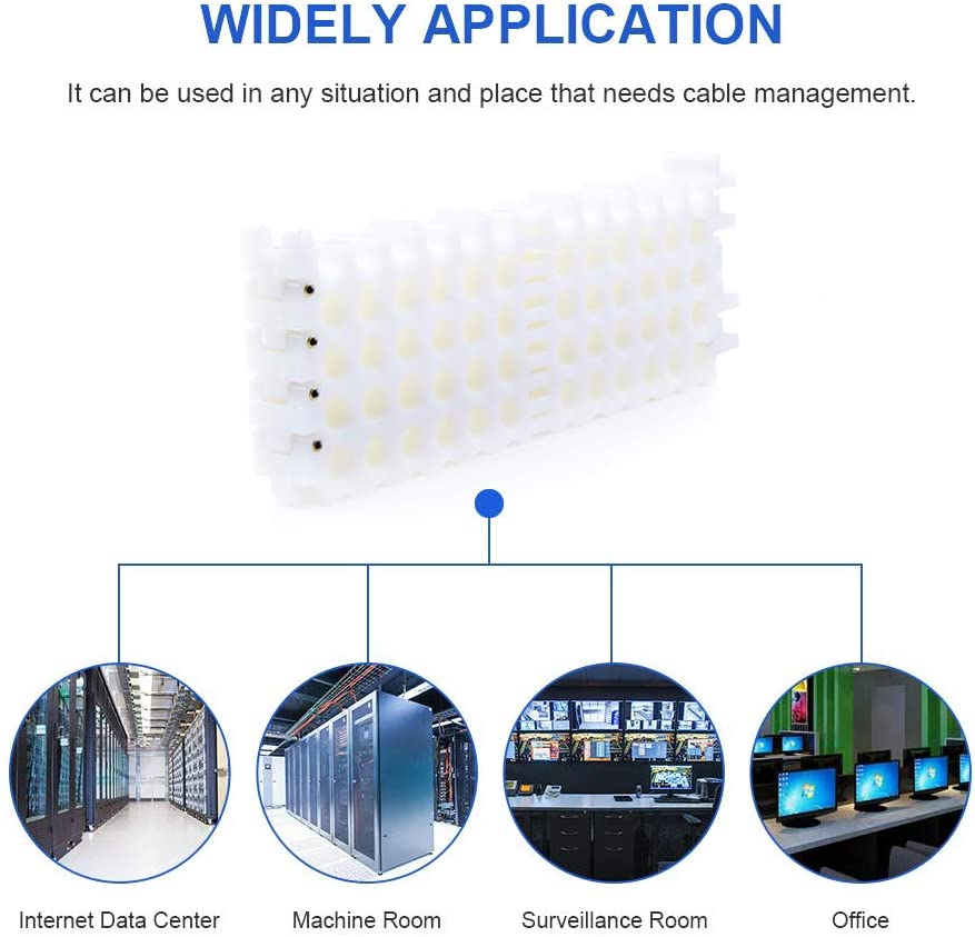Cable Comb Tool 25-Hole Cable Dresser Server Rooms and Machine Room Wire Management and Organizer 5 holes x 5 rows, White Bundler and Organizing Tool for Data Center