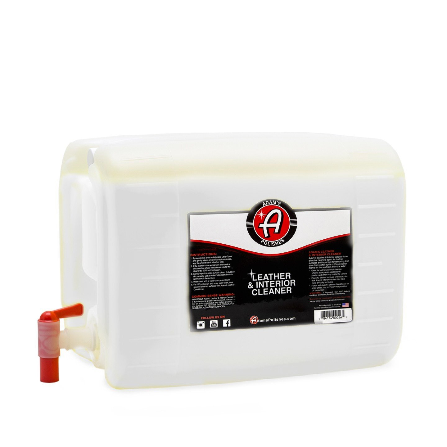Adam's Leather & Interior Cleaner - Safely Deep Cleans All Leather Vinyl and Plastic Interior Surfaces - Gentle on Your Interior, Tough on Dirt (5 Gallon) by Adam's Polishes (Image #1)