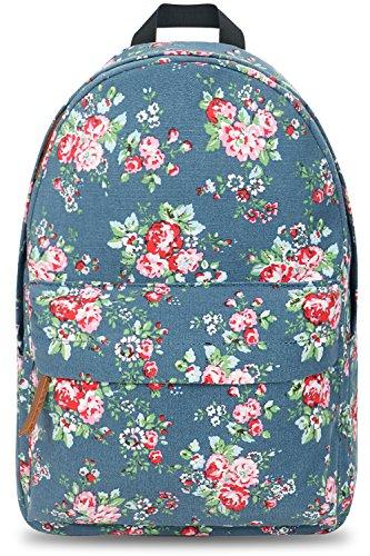 Vintage Floral Ladies Canvas Bag School Bag Backpack - 5