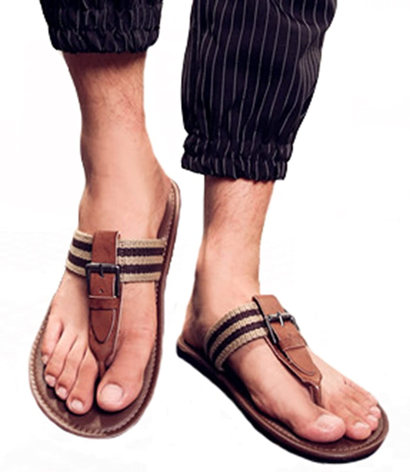 f4eca5fabf55 best IDIFU Men s Casual Open Toe Buckle Striped Flat Flip Flops Beach Seas  Pool Thong Sandals. AllhqFashion Women s Solid PU Kitten-Heels ...