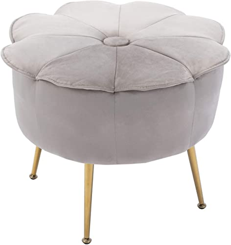 CIMOTA Round Foot Stool Ottoman Velvet Footstool Flower Shape Small Tufted Ottoman