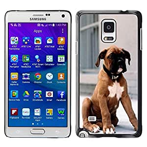 Be Good Phone Accessory // Dura Cáscara cubierta Protectora Caso Carcasa Funda de Protección para Samsung Galaxy Note 4 SM-N910 // Boxer Breed Dog Brown Fur Puppy