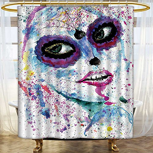 Mikihome Shower Curtain Collection by Halloween Lady with Sugar Skull Make Up Creepy Dead Face Patterned Shower Curtain W72 x H96 -