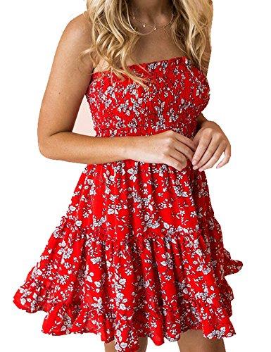 (Murimia Womens Summer Strapless Off Shoulder Floral Print Beach Mini Dress Red White)