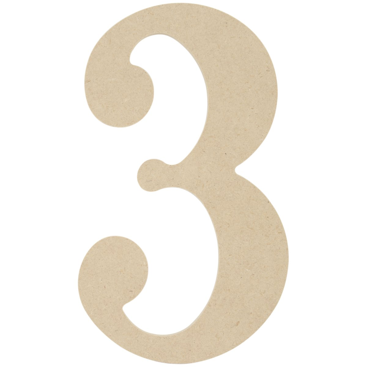 MPI MDF Classic Font Wood Letters and Numbers, 9.5-Inch, Number 3 MDF9-L429