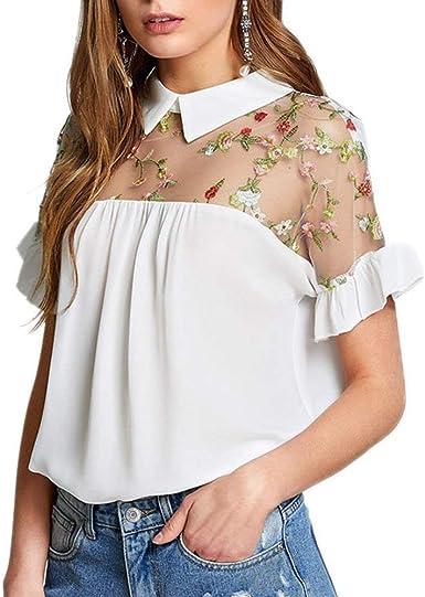 Blusa De Verano para Mujer Bordado De Moda Costura Tops Blusas De Casuales Mujeres Camisa Cuello Redondo Camisas Tops Camisas (Color : Blanco, Size : XL): Amazon.es: Ropa y accesorios
